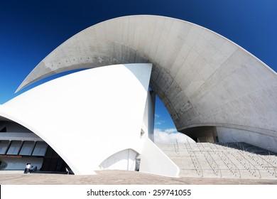 TENERIFE, SPAIN: NOVEMBER 23, 2014: Auditorio de Tenerife in Tenerife, Spain. It was designed by architect Santiago Calatrava Valls and opened in 26 September 2003.