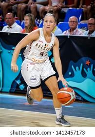 Tenerife, Spain, September 28, 2018: Belgian basketball player Marjorie Carpreaux in action during basketball match BELGIUM vs FRANCE at Santiago Martin Arena.