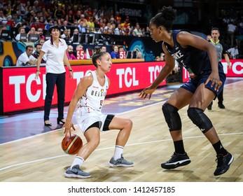 Tenerife, Spain, September 28, 2018: basketball players Marjorie Carpreaux and Endene Miyem in action during basketball match BELGIUM vs FRANCE at Santiago Martin Arena.