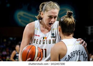Tenerife, Spain, September 28, 2018: basketball players Marjorie Carpreaux and Emma Meesseman during basketball match BELGIUM vs FRANCE at Santiago Martin Arena.