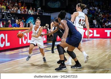 Tenerife, Spain, September 28, 2018: basketball player Marjorie Carpreaux in action during basketball match BELGIUM vs FRANCE at Santiago Martin Arena.