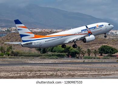 TENERIFE, SPAIN - SEPTEMBER 8: Travel Service (Smart Wings) Boeing 737-800 at Tenerife Sur Airport . September 8, 2018