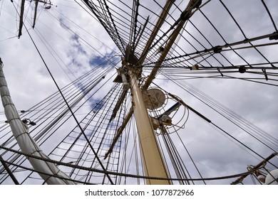 TENERIFE, SPAIN-APRIL 22, 2018: Frigate Danmark, docked in the port of Santa Cruz de Tenerife. April 22, 2018.