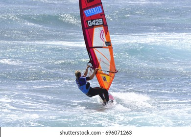 TENERIFE, SPAIN-AUGUST 11, 2017: PWA World Cup windsurfing, El Medano, August 11, 2017