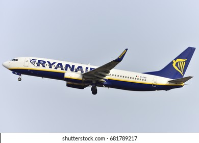 TENERIFE, SPAIN-JULY 17, 2017: Plane - Boeing 737-8AS of Ryanair taking off off the airport of Tenerife South on July 17, 2017