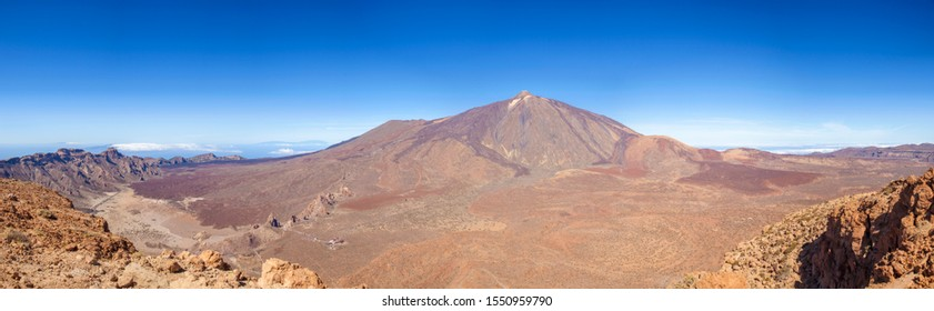 Tenerife, view over Canadas del Teide old crater remains from hiking path of the ascent of Guajara mountain, towards Teide, the tallest mountain in Spain and Atlantic Basin, extra large panorama
