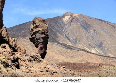 Tenerife volcanic landscape - Finger of God rock in Mount Teide National Park.