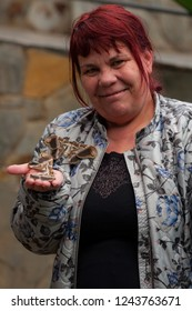 Tenerife/Spain - 02.11.2018: A nice photo of a woman holding a specimen of an Indian eri silkmoth (Samia ricini)