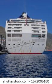 Tenerife/Spain; December 27 2019: Oceana cruise ship moored at the port of Santa Cruz of Tenerife, P&O Cruises, Canary islands, Spain