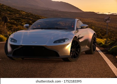 Tenerife,Spain-May 2020:Tesla Roadster on the road in the Canary Islands