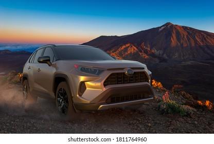 Tenerife,Spain-September 2020:The new Toyota Rav4 while driving in extreme terrain