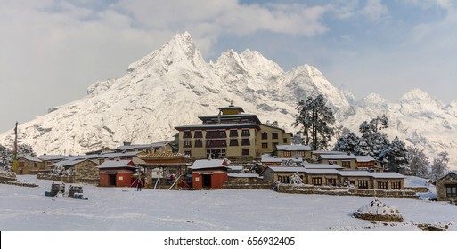Tengboche Monastery in Nepal after snowfall