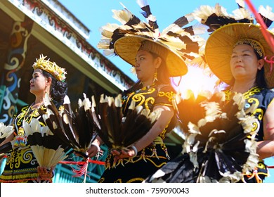 Tenggarong, Indonesia-August 27th,2016. Traditional dance of dayak people with traditional costume participated in erau International folk art festival on August 27th, 2016  in tenggarong, Indonesia.