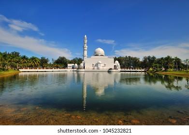 The Tengku Tengah Zaharah Mosque or the Floating Mosque is the first real floating mosque in Malaysia, situated in Kuala Ibai Lagoon near to Kuala Terengganu, Malaysia