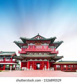 "Tengwang Pavilion ancient buildings, 1400 years ago, Nanchang, China.Translation:""Attic next to the water wave"""