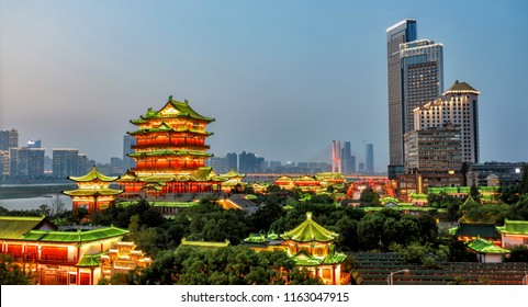 Tengwang Pavilion,Nanchang,traditional, ancient Chinese architecture, made of wood.Contrast with modern high-rise buildings.