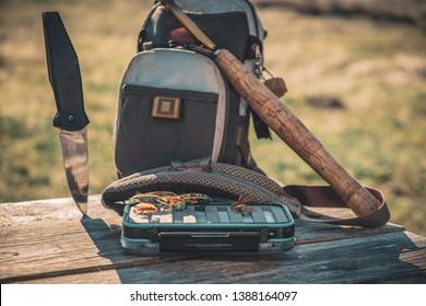 Tenkara. Fishing tackle box with fly fishing.