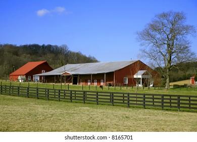 Tennessee Farmland in Winter near Franklin Tennessee ,