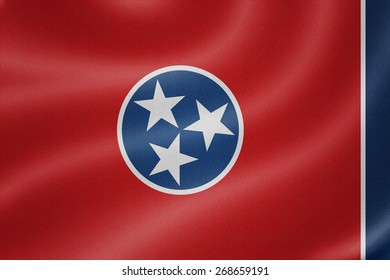 Tennessee flag on the fabric texture background