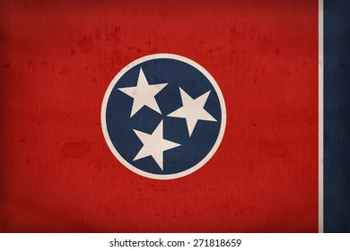 Tennessee flag on fabric texture,retro vintage style