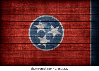 Tennessee flag pattern on wooden board texture ,retro vintage style