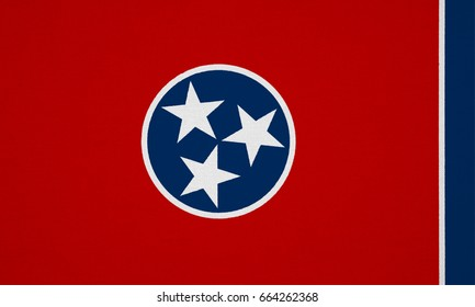 Tennessee flag, USA with fabric texture
