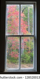 Tennessee, Great Smoky Mountains National Park, Cades Cove, window view inside Missionary Baptist Church