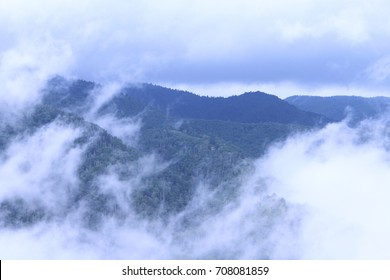 Tennessee Mountains with Clouds and Heavy Fog