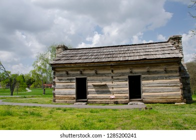 Tennessee, Nashville. The Hermitage, historic home and plantation of president Andrew Jackson. National Historic Landmark. First Hermitage Cabins, later slave housing.