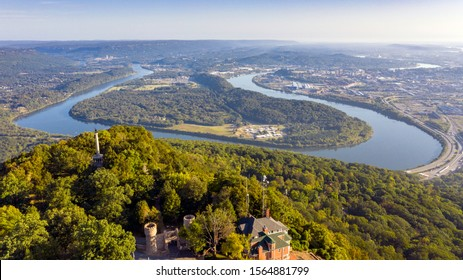 The Tennessee River valley at the foothils of the Appalachian Mountains showing Chattanooga