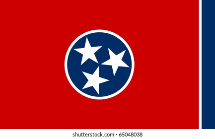 Tennessee state flag of America, isolated on white background.