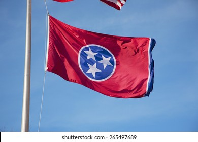 Tennessee State Flag in blue sky, Nashville, Tennessee