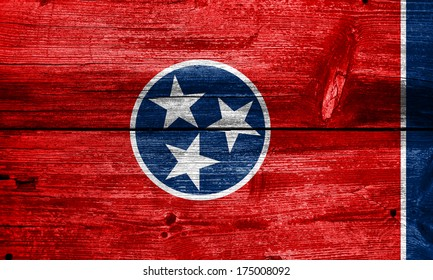 Tennessee State Flag painted on old wood plank texture