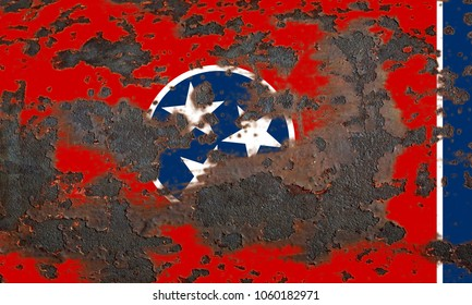 Tennessee state grunge flag, United States of America
