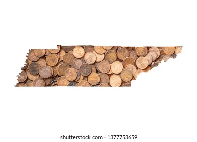 Tennessee State Map and Money Concept, Piles of Coins, Pennies