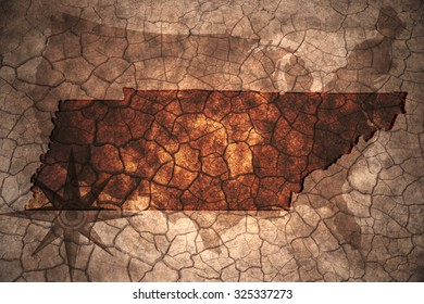 Tennessee state map on vintage usa map, crack paper background