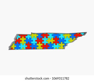 Tennessee TN Puzzle Pieces Map Working Together 3d Illustration