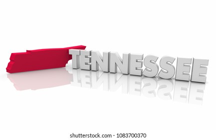 Tennessee TN Red State Map Word 3d Illustration