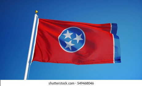 Tennessee (U.S. state) flag waving against clear blue sky, close up, isolated with clipping path mask alpha channel transparency, perfect for film, news, composition