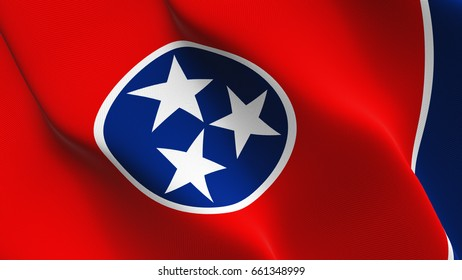 Tennessee US State flag waving on wind. United States of America Tennessee flag blowing in the wind with highly detailed fabric texture. Realistic rendering quality.