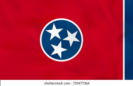 Tennessee waving flag. Tennessee state flag background texture. Raster copy.