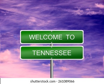 Tennessee welcome US state vacation landscape USA sign travel.