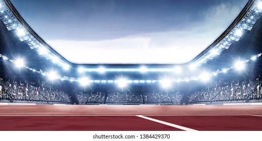 Tennis arena at night with spotlights