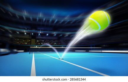 tennis ball ace strike on a blue court in motion blur tennis sport theme render illustration background