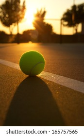 Tennis Ball Backlit at Sunset for Effect and Glow