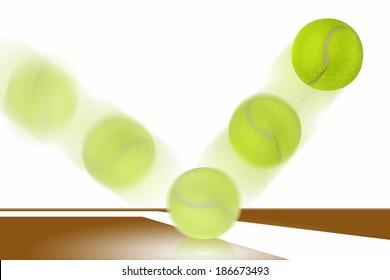 Tennis ball bounces on court.