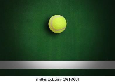 Tennis Ball in Corner court Tennis game sport background for design