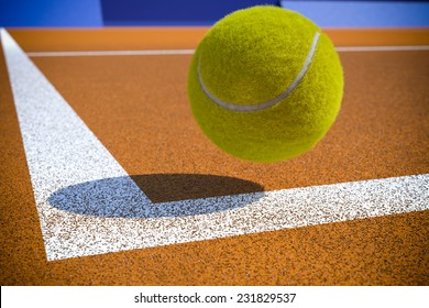 Tennis ball to corner red ground field line
