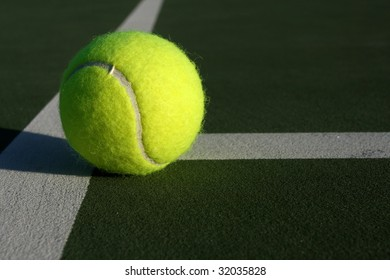 Tennis ball near the court lines