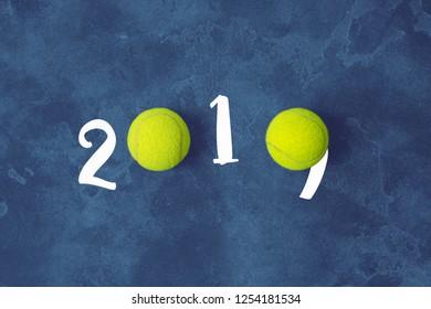 Tennis ball New Year 2019 greeting concept horizontal